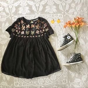 Zara Trafaluc embroidered babydoll dress romper S